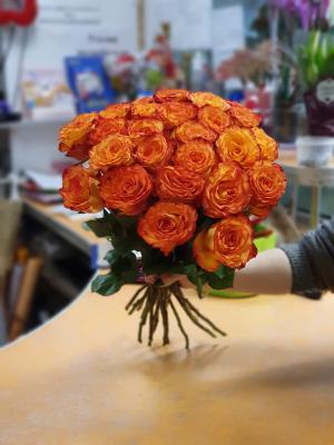 Роза Эквадор оранжевая - 21 роза